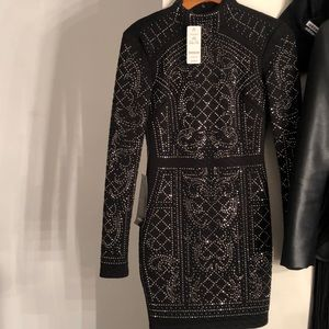 Bebe black sequence dress black and silver stones